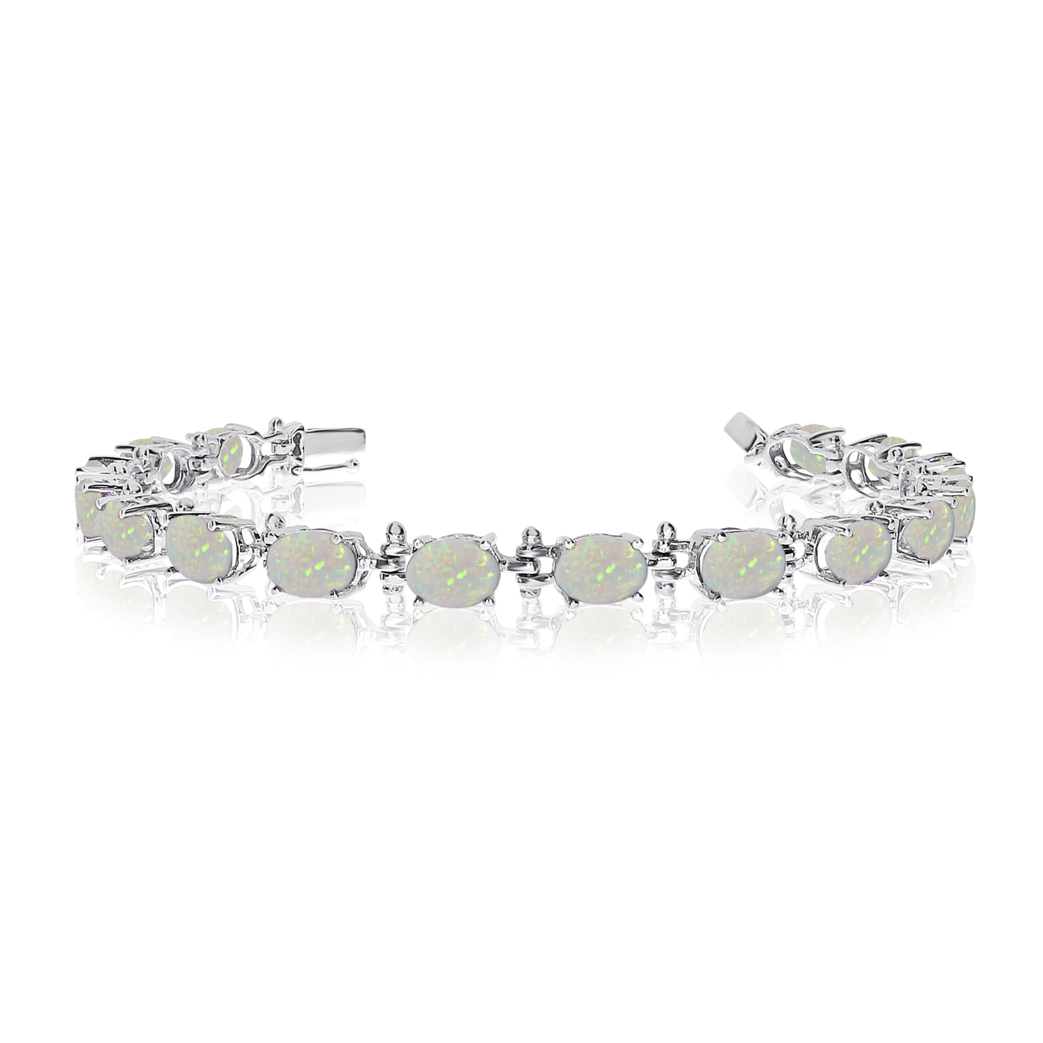 14K White Gold Oval Opal Tennis Bracelet by