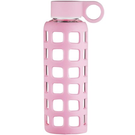 Origin Best BPA-Free Borosilicate Glass Water Bottle with Fun Square Silicone Sleeve and Leak Proof Lid - Dishwasher Safe Pale Pink 22