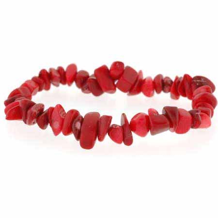 Red Coral Chip Bracelet (Red Genuine Sea Bamboo Coral Chip Stretch Bracelet)