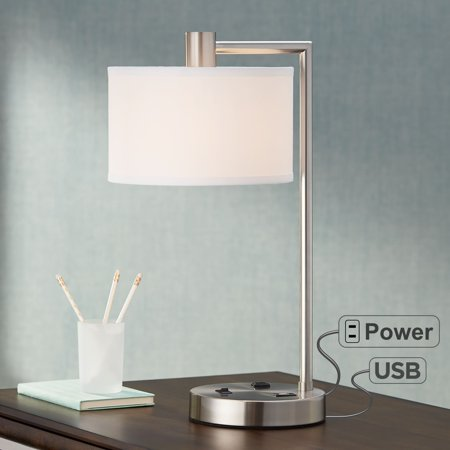 360 Lighting Modern Desk Table Lamp With Hotel Style Usb And Ac Power Outlet In Base Brushed Nickel White Linen Drum Shade For Bedroom Office