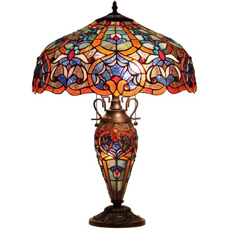 Chloe Lighting Sadie Tiffany-Style 3-Light Victorian Double Lit Table Lamp with 18