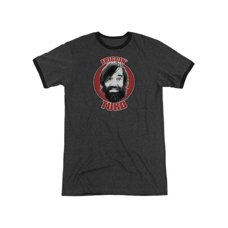 Last Man On Earth Friggin Turd T-shirt Charcoal Adult Unisex 60% Cotton/40% Polyester Short Sleeve