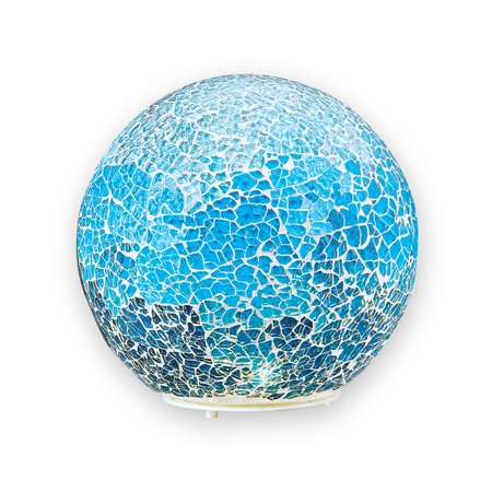 Collections Etc Lighted LED Sparkling Blue Mosaic Ball Tabletop Decoration for Any Room in Home, Battery-Operated, Large ()