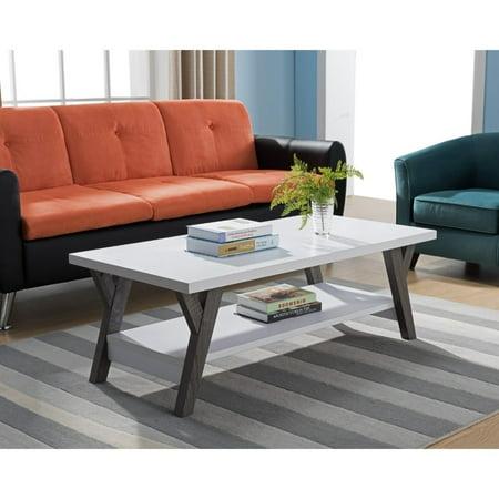 Strange Benzara Two Tone Wooden Coffee Table White Distressed Gray Machost Co Dining Chair Design Ideas Machostcouk