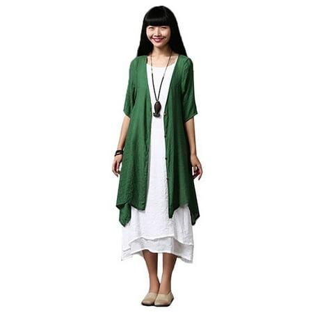 Womens Cardigans Slub Buttons Loose Solid Irregular Long Kimono