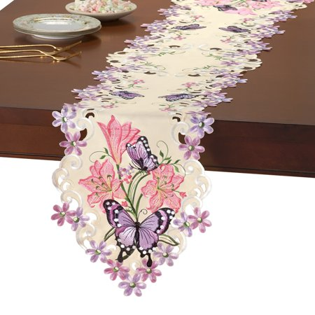 Lilies & Butterflies Elegant Spring Embroidered Table Linens, Runner, Lavender](Spring Table Runners)