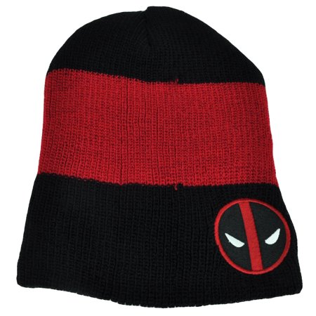Deadpool Marvel Knit Beanie Striped Black Red Toque Super Hero Hat Movie Skully](Deadpool Hat)