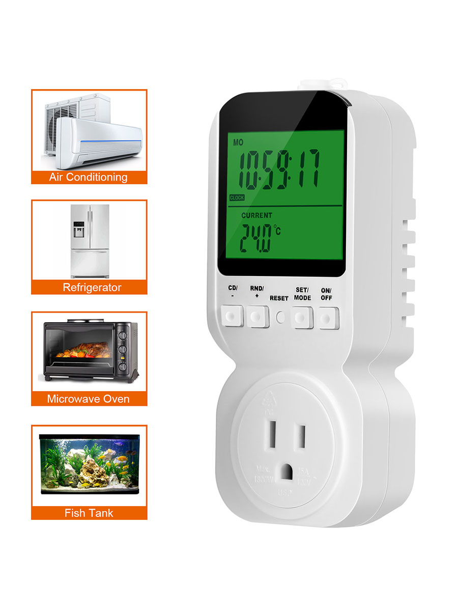 Timer Outlet, Electrical Digital Plug Heat Cold Mode,Temperature Probe, Constant... by