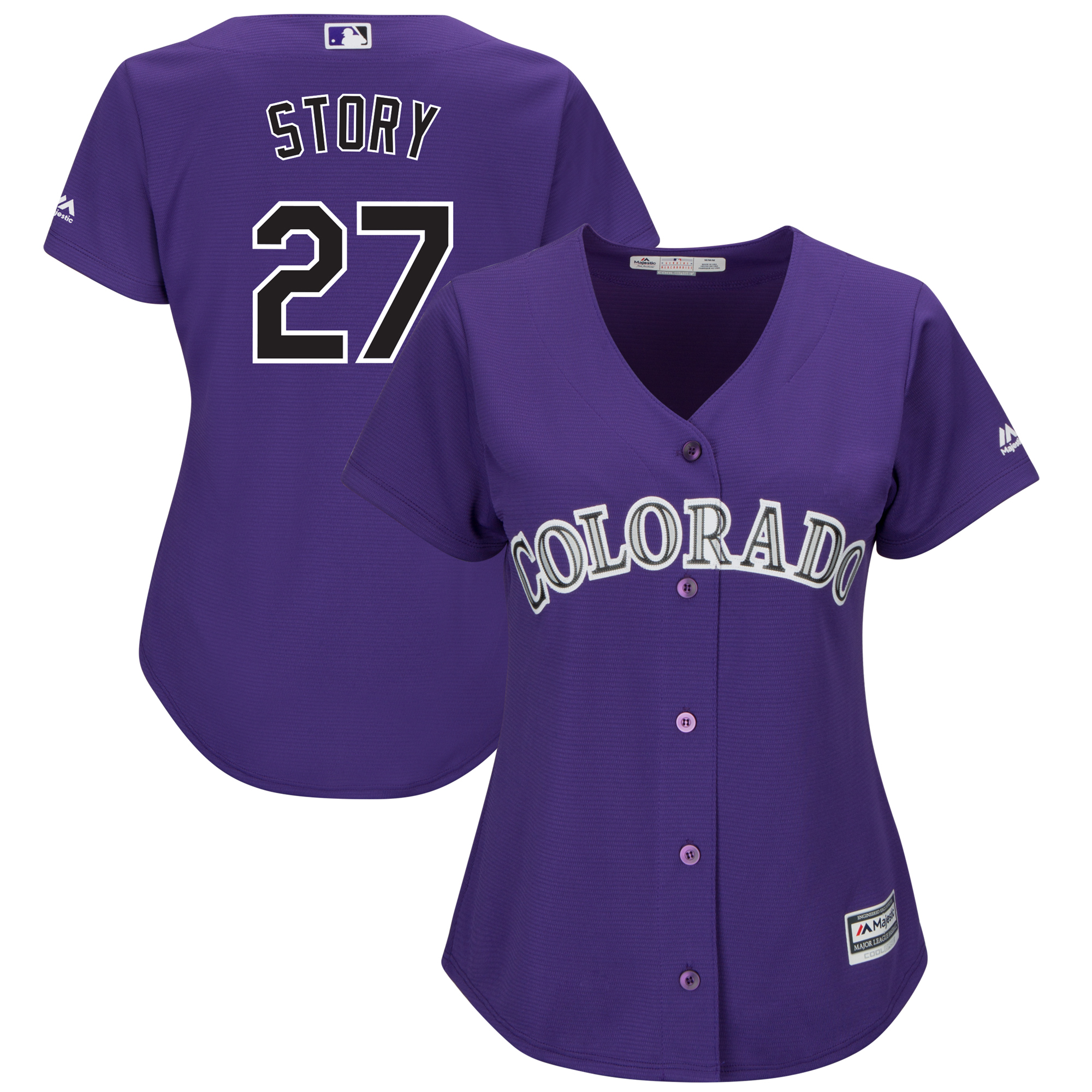 Trevor Story Colorado Rockies Majestic Women's Alternate Official Cool Base Player Replica Jersey - Purple