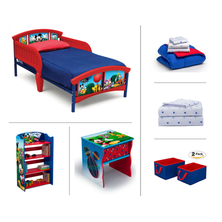 6PC Mickey Bundle - Toddler Bed, Bookshelf, Side Table, Solid Bedding, Blue Star Sheets, Red and Blue Storage Bins