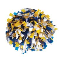 Pizzazz Royal Blue Gold White 3 Color Plastic Cheer Single Pom Pom
