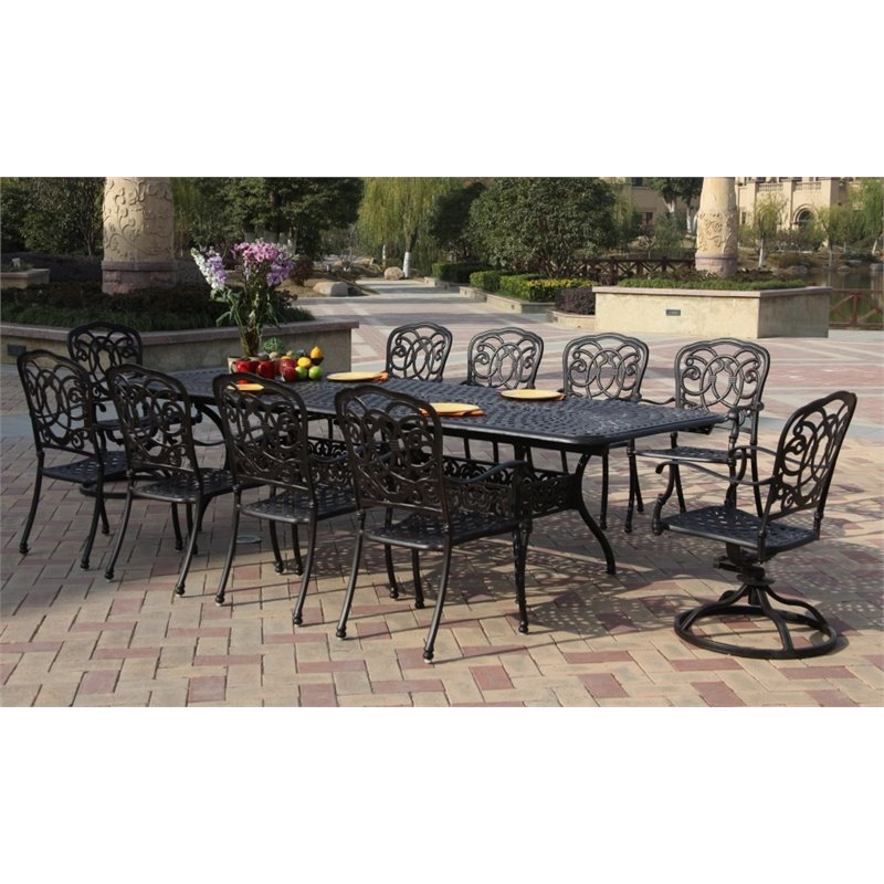 Darlee Florence 11 Piece Extendable Patio Dining Set and Seat Cushion