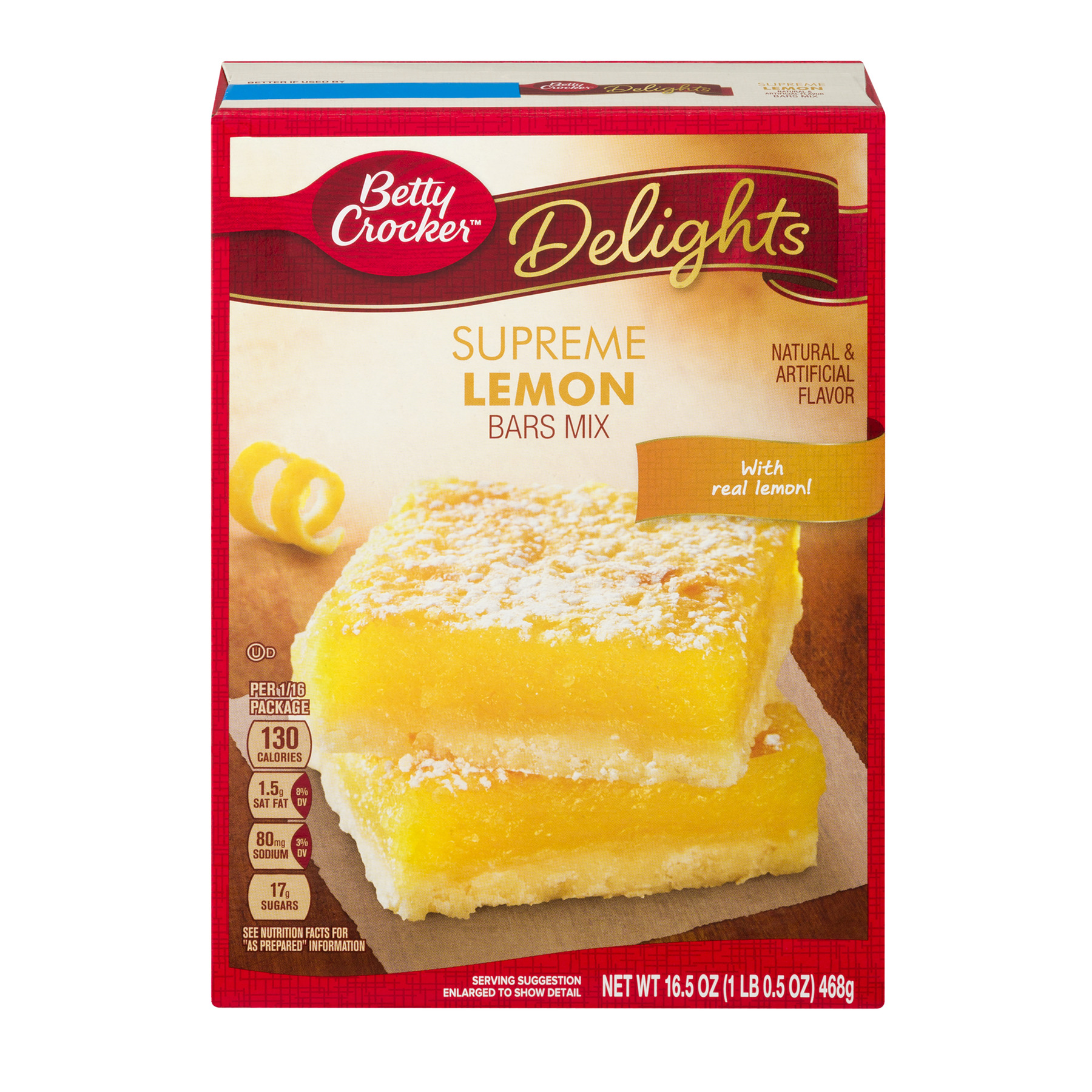 Betty Crocker Delights Dessert Bar Mix Supreme Lemon 16.5 oz Box, 16.5 OZ by General Mills, Inc.