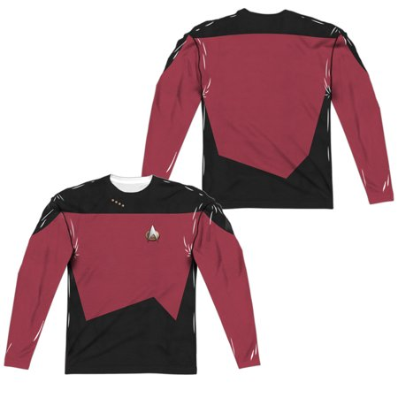 Star Trek TNG Command Uniform Allover Print Officially Licensed Sublimation Adult Long Sleeves T Shirt (Star Trek Tng Uniforms)
