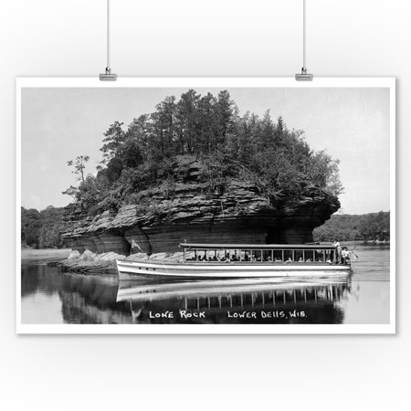 Lower Dells, Wisconsin - View of Lone Rock Photograph (9x12 Art Print, Wall Decor Travel (Wisconsin Dells Photos)