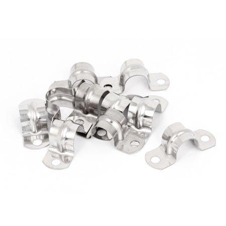 Unique Bargains 10pcs 2-Hole Metal Rigid Conduit Pipe Straps Clips Clamps for 16mm Dia Tube