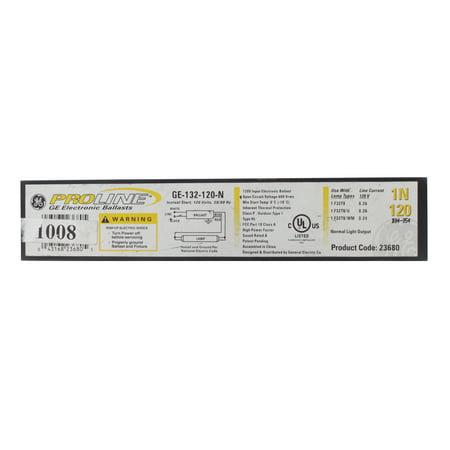 GE Lighting 23680 GE132-120-N 120-Volt ProLine Electronic Linear Fluorescent T8 Standard Instant Start Ballast 1 F32T8 Lamp