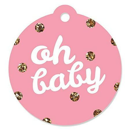 Hello Little One - Pink and Gold - Girl Baby Shower Party Favor Tags (Set of 20)