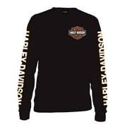 Men's Long Sleeve Orange Bar & Shield Black Shirt 30291744, Harley Davidson