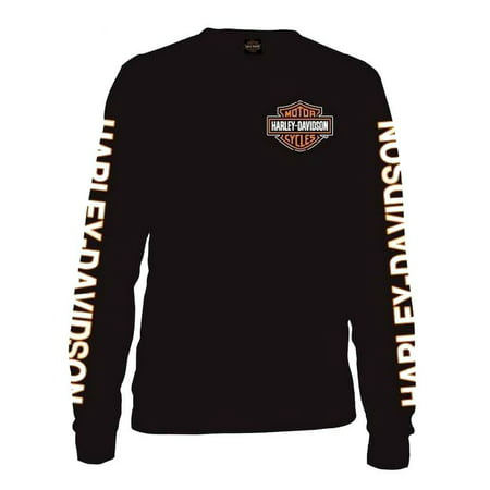 Men's Long Sleeve Orange Bar & Shield Black Shirt 30291744, Harley Davidson - Harley Davidson Happy Birthday
