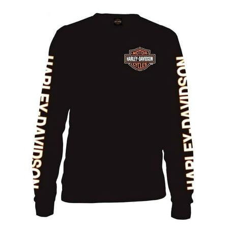 Harley Davidson Duo (Men's Long Sleeve Orange Bar & Shield Black Shirt 30291744, Harley)