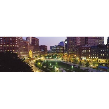 Buildings in a city Atlantic Avenue Wharf District Boston Suffolk County Massachusetts USA 2010 Canvas Art - Panoramic Images (18 x 6)