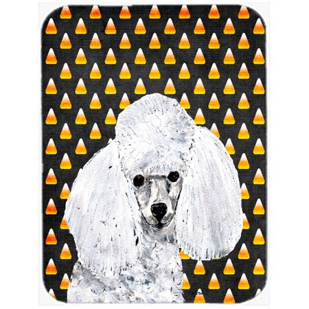 White Toy Poodle Candy Corn Halloween Mouse Pad, Hot Pad or Trivet