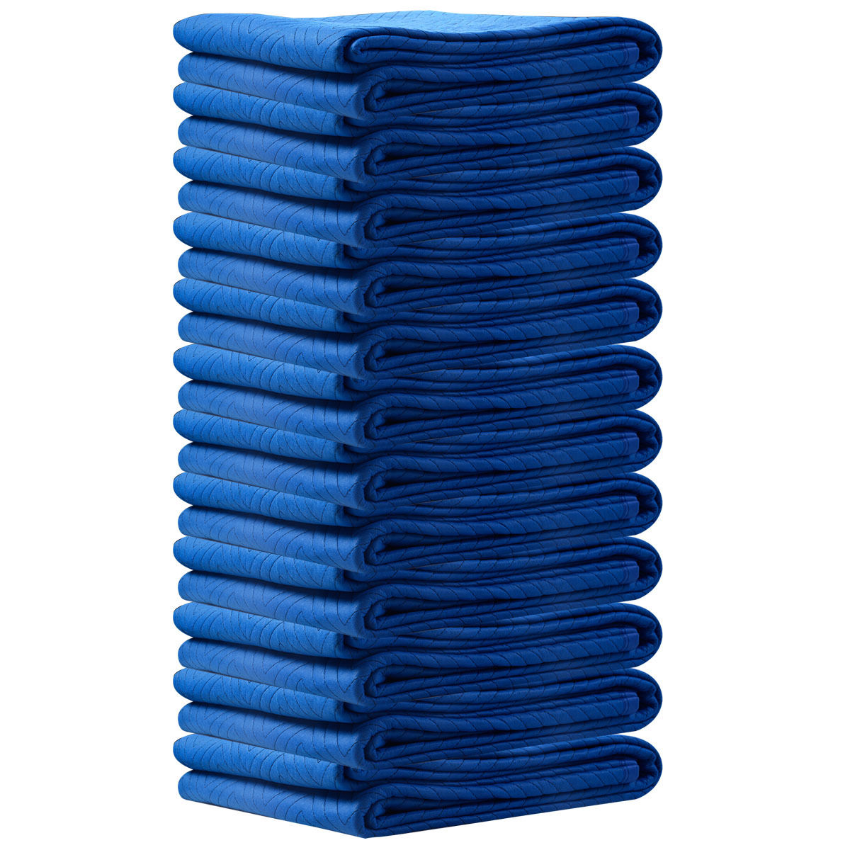 """GHP 12-Pcs 60-Lbs 72""""x80"""" Navy Blue Non-Woven Cloth Non-Slip Padded Moving Blankets"""