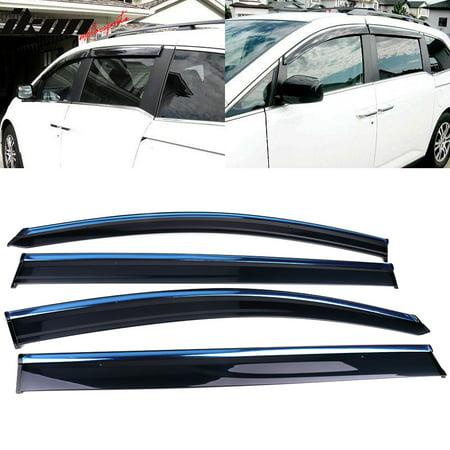 Fits 11-17 Honda Odyssey Polycarbonate Window Visors w/ Chrome Trim 4Pc (Polycarbonate Visor)