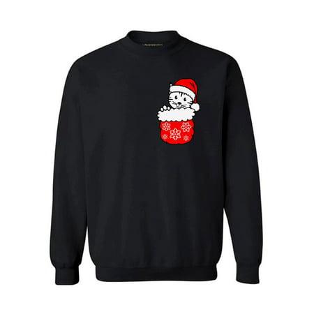 Awkward Styles Pocket Cat Christmas Sweatshirt Christmas Cat Holiday Sweatshirt Kitten in Pocket Funny Christmas Sweater Party Xmas Gifts Christmas Sweatshirt for Men for Women Cat Christmas Sweater