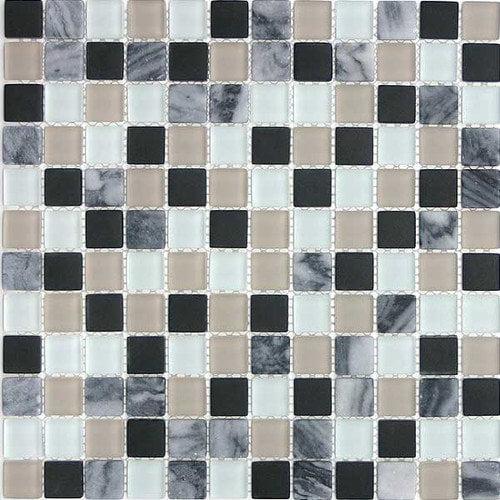 Giorbello Glacier Mountain 0.875'' x 0.875'' Glass and Natural Stone Mosaic Tile in Avalanche
