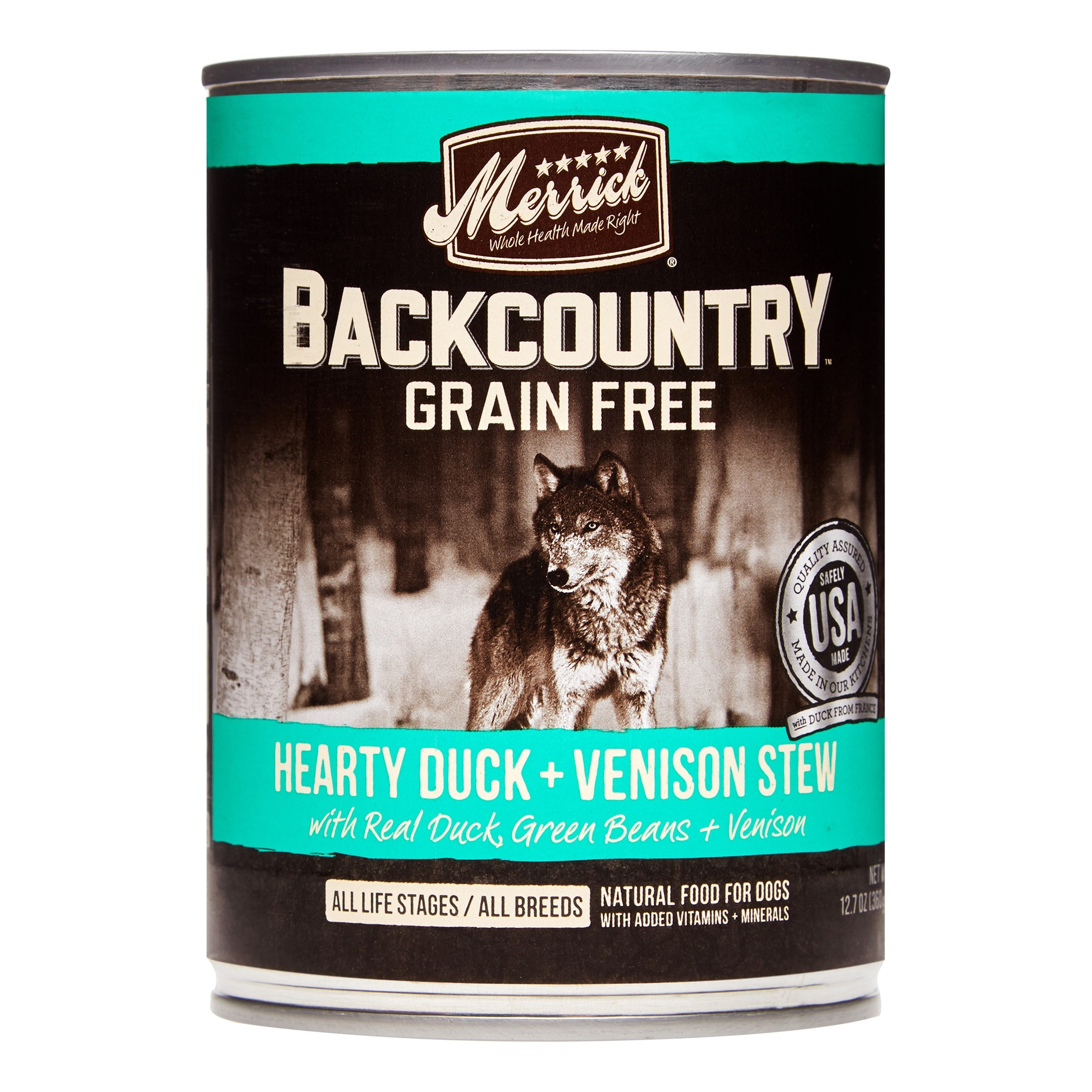 Merrick Backcountry Grain-Free Hearty Duck + Venison Stew Wet Dog Food, 12.7 oz, Case of 12