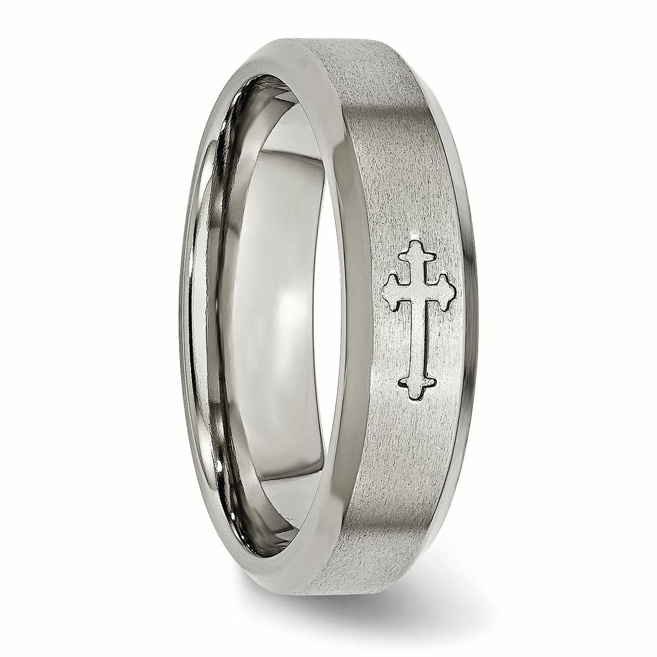 Titanium Cross Religious Design 6mm Beveled Edge Wedding Ring Band Size 11.00 Designed Fashion Jewelry Gifts For Women For Her - image 5 of 7