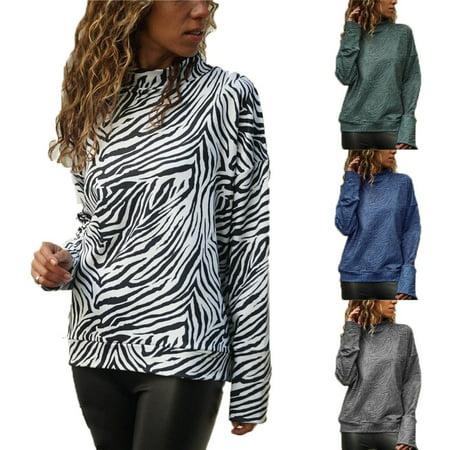 Women Spring Shirt High-collar Blouse Zebra-print Casual Long-sleeved Tops Lady T-shirt (Zebra Print Jacket)