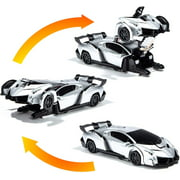 Wall Climbing Car / Transforming Robot - remote control car for boys and Girls, best gift for 3 to 12 years old, stunt car climbs on walls and transformed into robot, with led lights and sounds (1 pc)