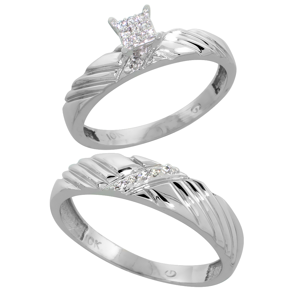 10k White Gold Diamond Engagement Rings Set for Men and Women 2-Piece 0.09 cttw Brilliant Cut, 3.5mm & 5mm wide by WorldJewels