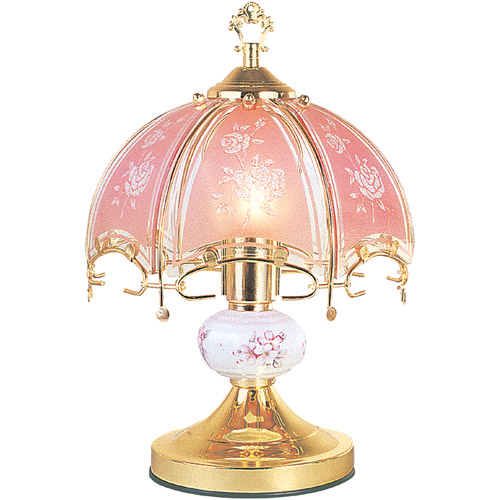 ORE International Floral Touch Lamp, Pink