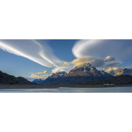 Lenticular Clouds Over Mountain Peaks Grey Lake Torres Del Paine National Park Chile Canvas Art   Panoramic Images  27 X 9