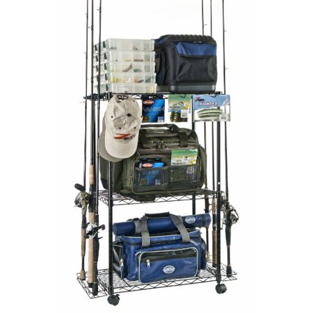Fishing Pole Storage Racks - Best Tackle Trolley Rolling Wire Rack Perfect to Store and Organize Fishing Gear