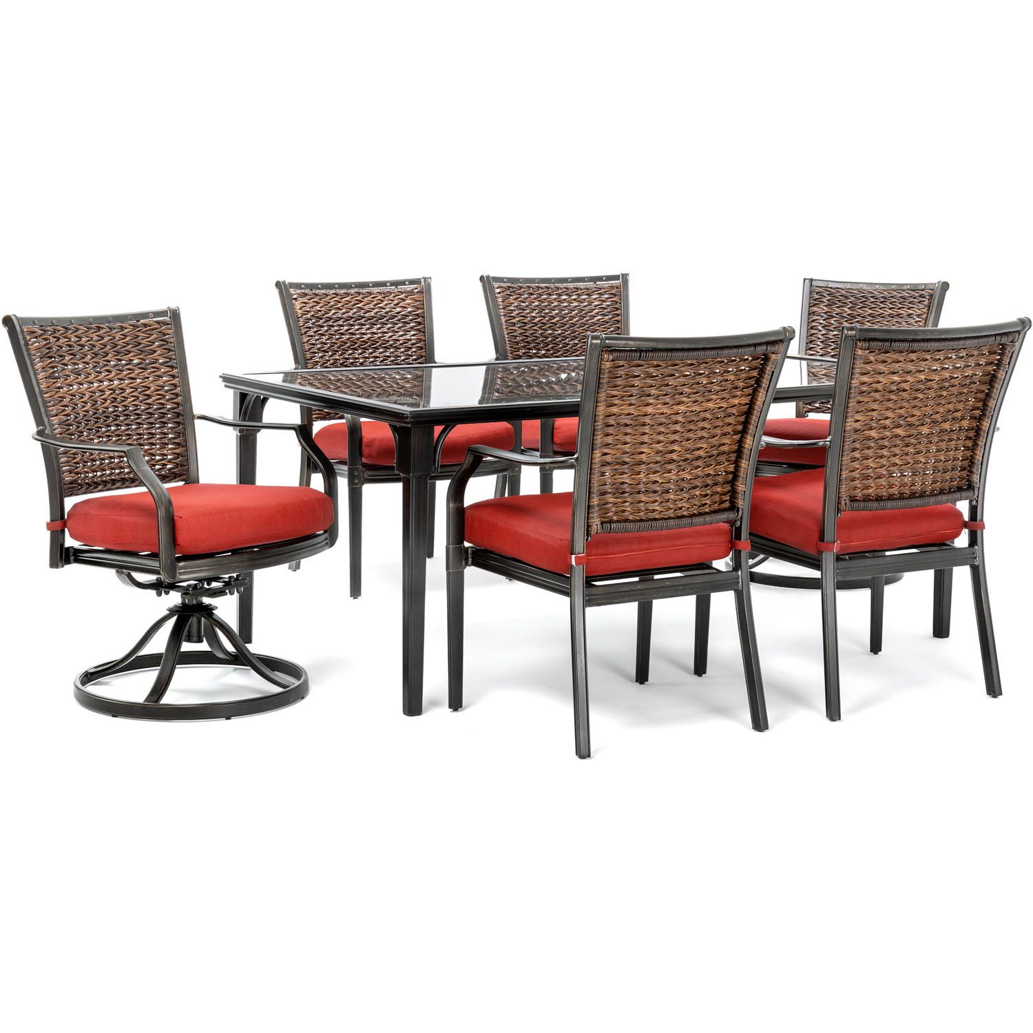 """Hanover Mercer 7-Piece Patio Dining Set in Crimson Red with 4 Dining Chairs, 2 Swivel Rockers, and a 40"""" x 70"""" Glass-top Table"""