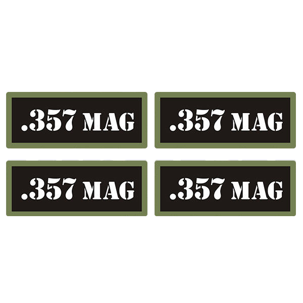 ".357 MAG Ammo Can 4 Pack 3"" Black Sticker Gun Ammunition Box Case Decal"