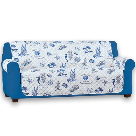 Reversible Catalina Beach-Themed Furniture Protector with Shells, Coral, and Fish - Reverse Side Features Stripe Pattern, Sofa Catalog Catalina Stripe Collection