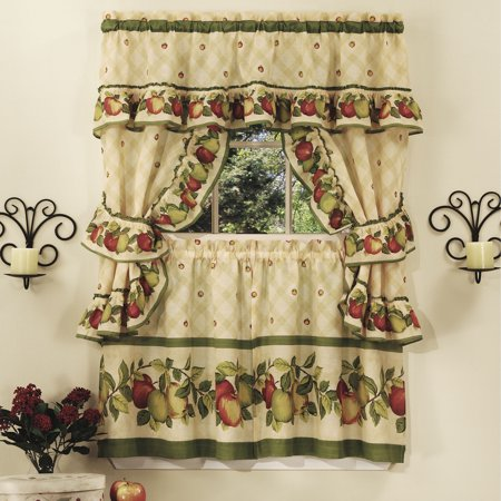Apple Orchard Complete Kitchen Curtain Tier, Swag & Valance Set (Apple Orchard Valance)