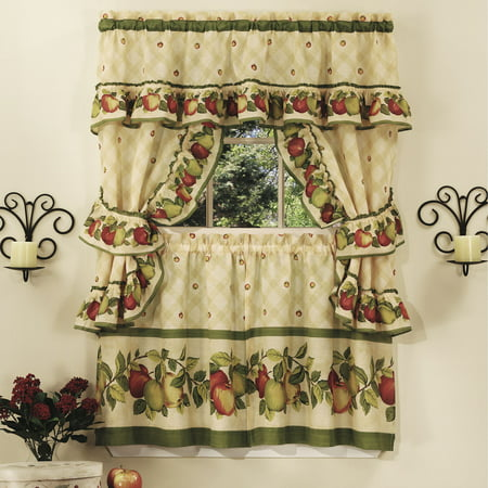 Apple Kitchen Curtains - Apple Orchard Complete Kitchen Curtain Tier, Swag & Valance Set