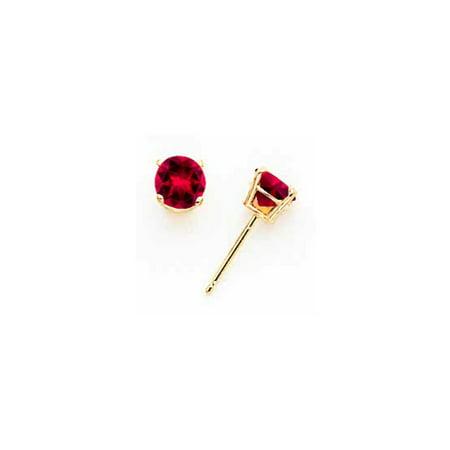 14k Yellow Gold Ruby Post Earrings 5x5