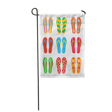 POGLIP Red Beach Colorful Flip Flops on Yellow Sand Sea Garden Flag Decorative Flag House Banner 28x40 inch - image 1 of 1