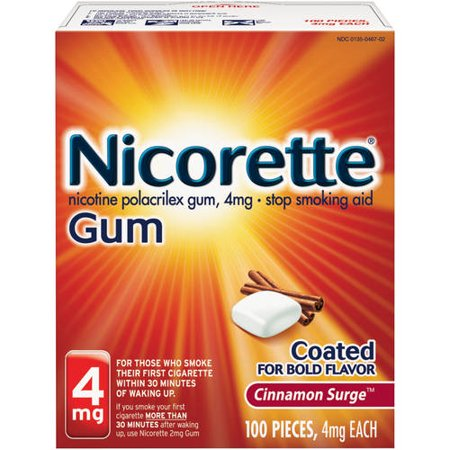 Nicorette 4mg Cinnamon Surge Stop Smoking Aid Gum 100 ct Box