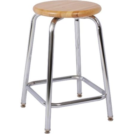 Outstanding National School Lines Qsw318 Hdw 18 Inch Fixed Chrome Stool 13 Inch Round Hardwood Seat Camellatalisay Diy Chair Ideas Camellatalisaycom