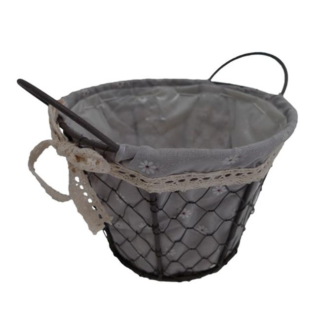 Cheung's FP-3364M Round Lined Wire Decorative Basket with 2 Ears
