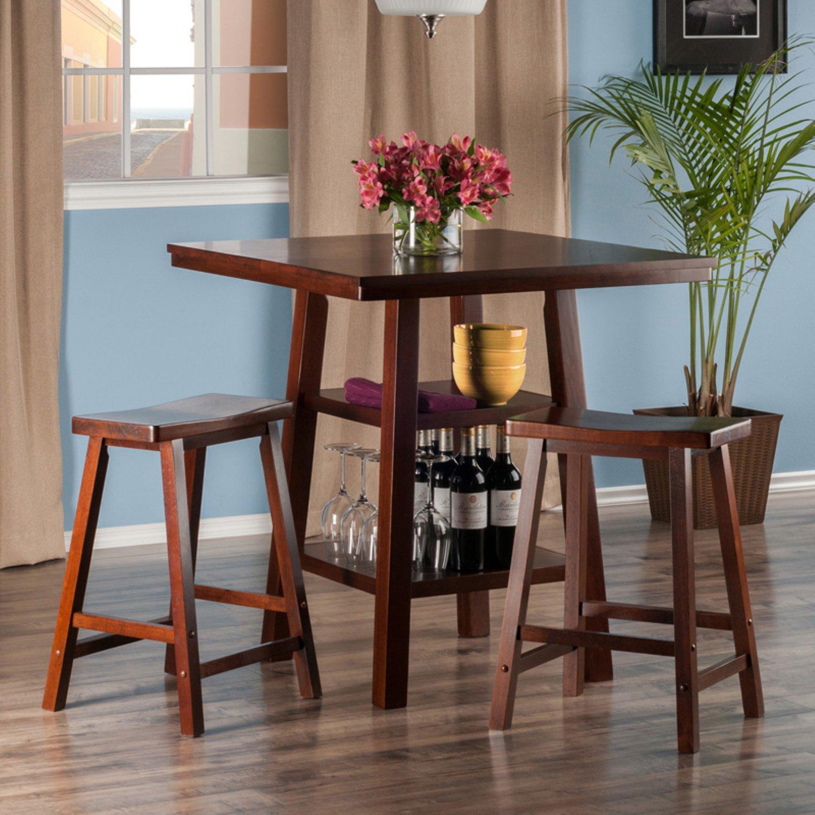 Orlando 3-Pc Set High Table, 2 Shelves w/ 2 Saddle Seat Stools